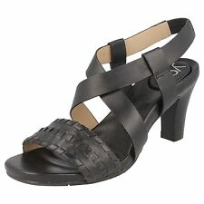 Ladies You by Crocs Black leather heeled sandals MARJESS 7.5 (US 10)