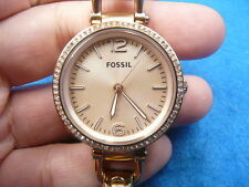 New Old Stock 32mm FOSSIL Rose Gold Quartz Women Lady Watch