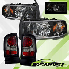1994-2001 Dodge Ram 1500 2500 3500 Black LED Headlights w/ Smoke Tail Lights Set