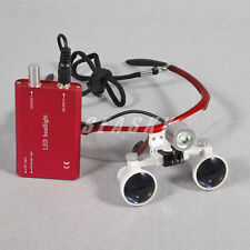 Gafas Binoculares Lupa para Dental 3,5 X R con Luz LED Frontal Head Light RED