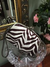 Coach F42988 Zebra Framed Kisslock Wristlet Wallet Clutch Satin B16