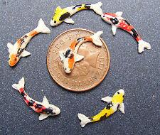 1:12 Scale 6 Koi Carp Fish For A Dolls House Miniature Pond Accessory Mixed lbn