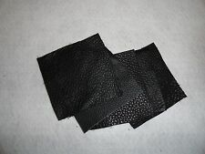 "Black Leather Scraps Remnant upholstery 4""x 4""  cowhide 4 pieces"