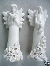"Vintage Pair Of 2 Angel Ceramic Figurine 5.5"" Tall One with dove the other music"