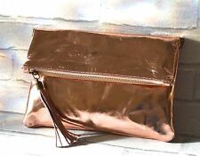 Genuine Leather Rose Gold Foldover Clutch and Crossbody Bag with Removable Strap