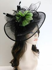 New Church Derby Wedding Pleated Fascinator Dress Hat Headband 2450 Black / Lime