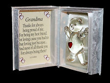 Grandma personalised gift poem & own message crystal glass teddy bear by Cellini