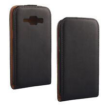 For Samsung Galaxy J1, Black Genuine Leather Classic Style Flip Case Cover