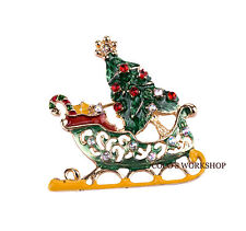 QUALITY ENAMEL CRYSTAL CHRISTMAS TREE CANDY CANE SLED HOLIDAY BROOCH PIN GIFT
