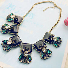 Retro Unique Statement Crystal Leaf Flower Square Geometry Choker Bib Necklace