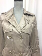 Max Mara Lightweight Packable Lined Rain Trench Jacket Belted Coat Gold Beige M
