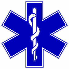 "Star of Life EMS EMT paramedics sticker decal 4"" x 4"""