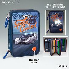 Depesche MONSTER CARS Speed Control TRIPLE FILLED PENCIL CASE with LED Lights
