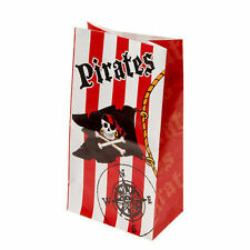 12 Pirate Skull Flag Paper Bag Kid Boy Jolly Roger Party Goody Loot Favor Supply