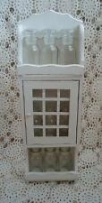 Vintage Wall Spice Rack White Chic Shabby Wood & 9 Glass Spice Bottles Jars