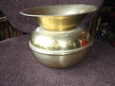 VINTAGE SOLID BRASS SPITTOON PLANTER NORLEANS ENGLAND STICKER 6.25""