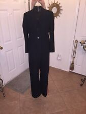 Ann Taylor Loft Black Striped Women's Pant Suit Petite Sz 8 / 10 Career Business