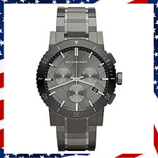 New Authentic Swiss Made Burberry Watch Chronograph Gray Ion Plated Steel BU9381