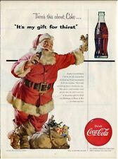 1954 Coke Coca~Cola Santa and Bag Vintage Bottle PRINT AD