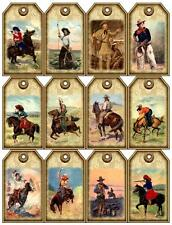12 COWBOY HORSE - VINTAGE LOOK - PAPER CRAFT CARD TAG SCRAPBOOK