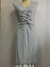 A Pea in the Pod Maternity Dress White and Black Striped Sleeveless Sz S/P EUC