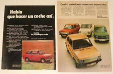 SEAT 133 2x Original 1970s AD ADS publicidad coche spanish Advert mini poster