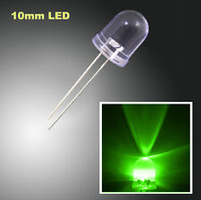 500pcs 2Pin 10mm Water Clear Round Top Green Light 22000MCD Ultra Bright LED