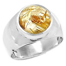 Golden Rutile 925 Sterling Silver Ring Jewelry s.7 GRUR878