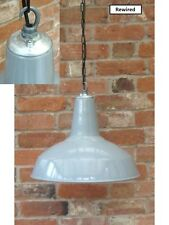 "Grey 18"" Benjamin Industrial Vintage Enamel Factory Pendant Lamp/Light REWIRED"