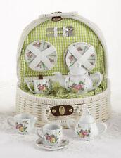 Delton Children's Porcelain Tea Set for 2 in Wicker Basket HUMMINGBIRD