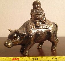 Large Brass Bull Figure With Removable Rider & Hidden Compartment Ashtray?
