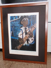VINTAGE FRAMED SIGNED PRINT BLUES ALLEY DAMON WARREN 1999 MUSIC GUITAR 20 X 16