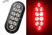 """Trailer Truck RED LED Surface Mount 6"""" Oval Oblong Stop Turn Tail Light Clear Ls"""