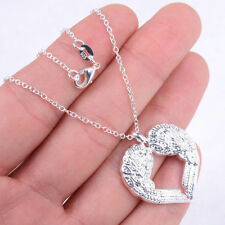 Charm 925 Silver Plated Ladies Necklace Anger Wings Hollow Heart Pendant Chain