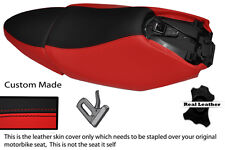 BLACK & RED CUSTOM FITS YAMAHA XQ 125 MAXSTER  REAL LEATHER SEATS COVERS