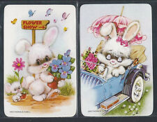 #915.051 Blank Back Swap Cards -MINT pair- White bunny in car & flower show