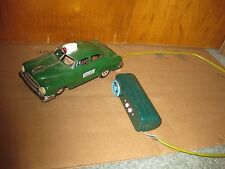 Vintage Tin Lithographed Police Battery Operated Police Car Line Mar Toys Japan