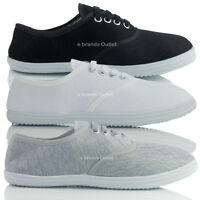 NEW WOMENS LADIES FLAT CANVAS LACE UP TRAINER PLIMSOLLE SHOES SIZE 3 4 5 6 7 8