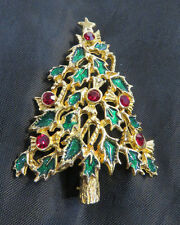 Vintage Goldtone Enamel Decorated Christmas Tree Brooch, Pin