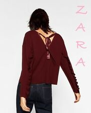 ZARA New (RT$45) Top w/Bow at the Back Sleeve w/Frills Dark Maroon Blouse S (M)