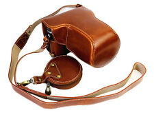 Bottom Opening PU Leather Full Camera Bag Case for Panasonic LUMIX GX85 Brown