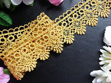 Metallic Venise Lace, 1+3/4 inch wide gold trim  selling by the yard