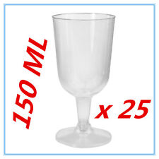 25 PK DISPOSABLE PARTY PLASTIC CLEAR WINE GLASS CUPS ALL Occasions FUNCTIONS AP