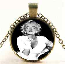 Vintage Marilyn Monroe Photo Cabochon Glass Bronze Chain Pendant  Necklace