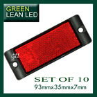 10x Red Reflex Reflector with Mounting Bracket 93x35x7mm bus truck trailer ute