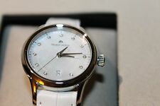 New Swiss Maurice Lacroix Ladies Diamond and Mother of Pearl White Leather Watch