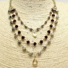 Gold Burgundy Beaded Crystal FASHION Necklace