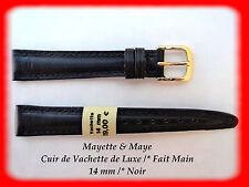 BRACELET MONTRE CUIR DE VACHETTE DE LUXE 14 mm NOIR FAIT MAIN REF.PB61