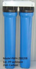 """2 Stage 20""""x 2.5"""" Blue Heavy Duty Whole House Filter System (1' ports)"""