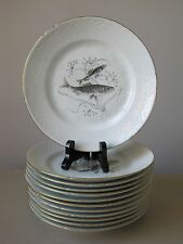 Bing and Grondahl (B & G) Fish Pattern #25 Luncheon Plates, Complete Set of (12)